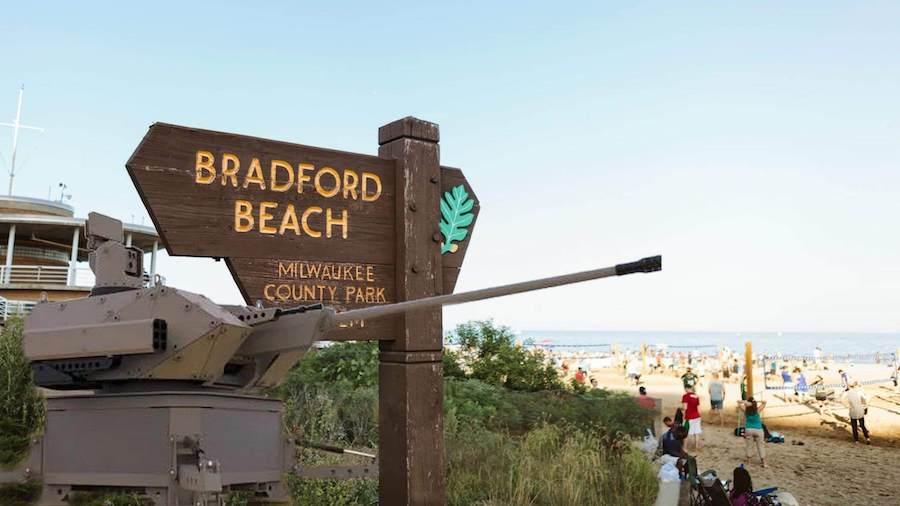 Machine guns at Bradford beach